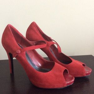 NINE WEST ❤️Red Suede Mary Jane Peep Toe